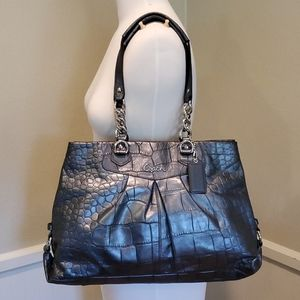 COACH gunmetal croc purse